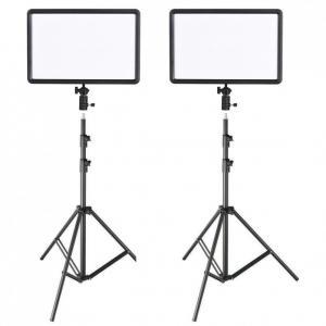 Godox Paket 2x LEDP260C ultratunt Videoljus & 2x rejäla Studiostativ 300cm