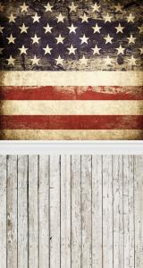 Vinylbakgrund 1.5x2.2m - Trägolv & Amerikanska flaggan retro