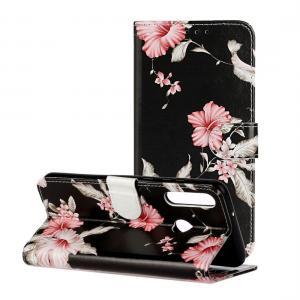Plånboksfodral för Huawei Y6p (2020) - Svart med rosa blommor