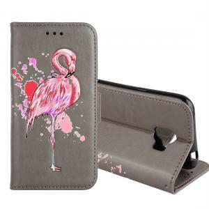 Plånboksfodral för Galaxy J2 Pro (2018) - Grå med rosa flamingo