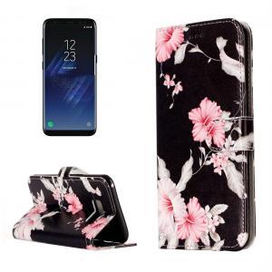 Plånboksfodral för Galaxy S8 - Svart med rosa blommor