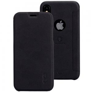 Lenuo Flipfodral för iPhone X - Svart