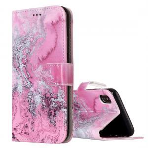 Plånboksfodral för iPhone X - Rosa vågmönster