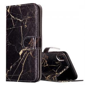 Plånboksfodral för iPhone X / XS - Marmor svart & guld