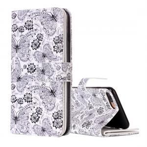 Plånboksfodral för iPhone 8/7 Plus - Vit med fjärilar och blommor