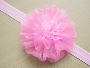 Pannband fluffig boll - Ljusrosa