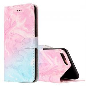 Plånboksfodral för iPhone 7 & 8 Plus - Marmormönster rosa & blå