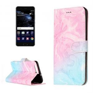 Plånboksfodral för Huawei P10 - Marmormönster rosa & blå