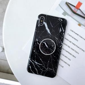 Mjukskal med grepp för Iphone XR - Marmormönster svart