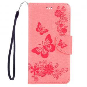 Plånboksfodral för Huawei Mate 9 - Rosa med fjärilar
