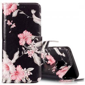 Plånboksfodral för Galaxy S9 - Svart med rosa blommor