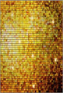 Vinylbakgrund 1.5x2.1m - Glittrigt kvadratmönster guld