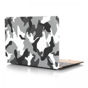 Skal för Macbook 12-tum - Kamuoflage vit, svart & grå
