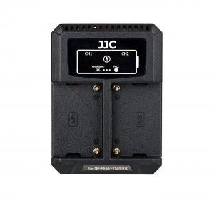 JJC USB-driven dubbel batteriladdare för Sony NP-F550/F750/F970/FM50/FM500H