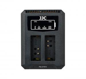 JJC USB-driven dubbel batteriladdare för Canon LP-E12