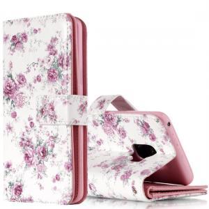 Plånboksfodral för Galaxy S9 - Vit med lila rosor