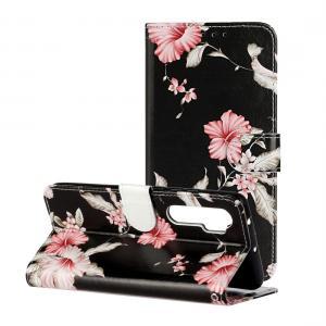 Plånboksfodral för Xiaomi Mi Note 10 Lite - Svart med rosa blommor