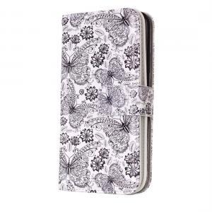 Plånboksfodral för iPhone X/XS - Vit med fjärilar och blommor