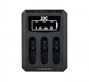 JJC USB-driven trippel batteriladdare för Ricoh DB-110, Olympus LI-90B