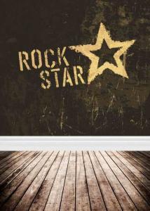 Vinylbakgrund 1.5x3m - Trägolv & Rock star stjärna
