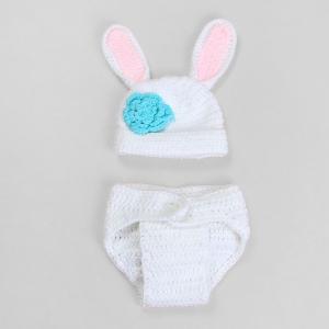 Klädset kanin - Vit, rosa & blå