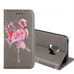 Plånboksfodral för Galaxy S9 - Grå med rosa flamingo