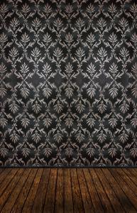 Vinylbakgrund 1.5x3m - Brunt trägolv & Svart damaskmönster