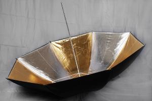 Paraply Silver & Guld - Svart utsida