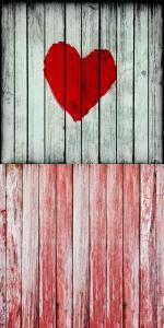 Vinylbakgrund 1.5x2.2m - Rött trägolv med vit trävägg + hjärta