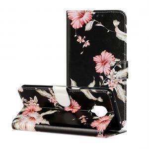 Plånboksfodral för Xiaomi Redmi Note 9 Pro - Svart med rosa blommor