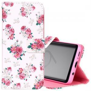 Plånboksfodral för Galaxy S9 Plus - Vit med rosa blommor