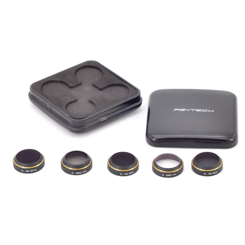 Pgytech MRC-filter (5 i 1) kit för DJI MAVIC PRO: ND4, ND8, ND16, CPL & UV