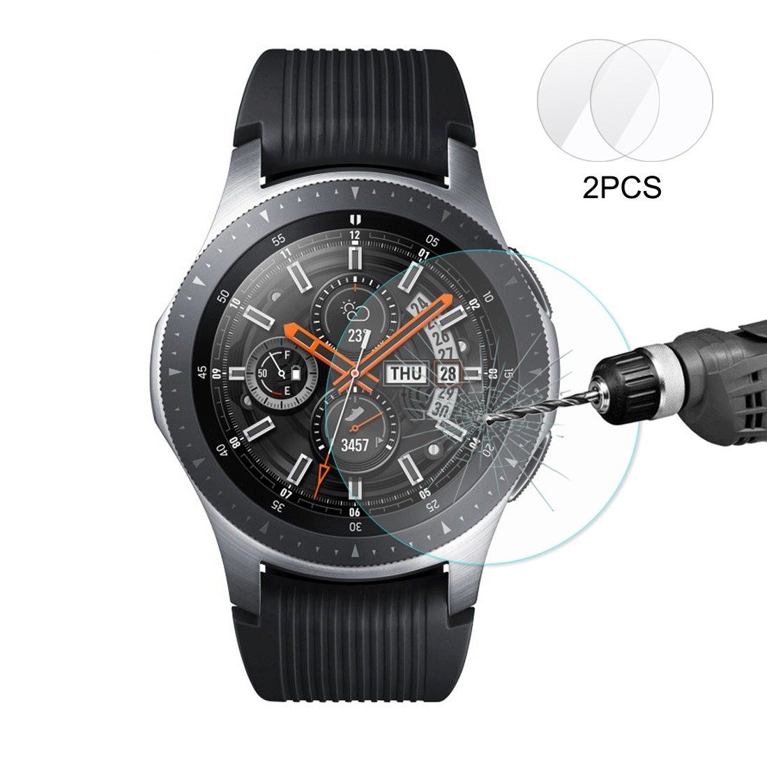 Enkay 2.15D Displayskydd 2st för Galaxy Watch 46mm - Av härdat glas 9H