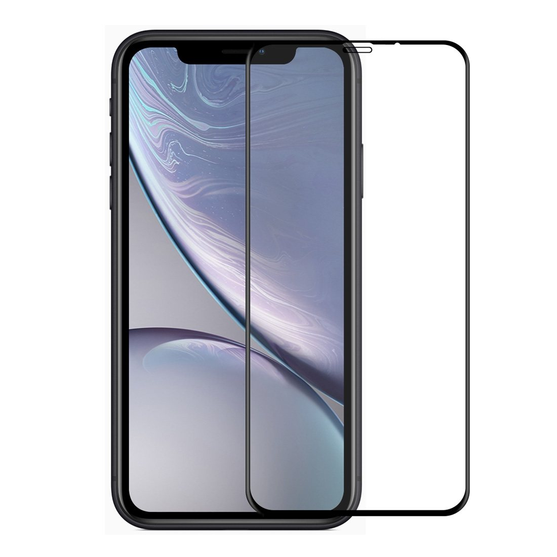 Enkay Displayskydd iPhone XR - Av härdat glas 9H 6D Curved full screen Svart