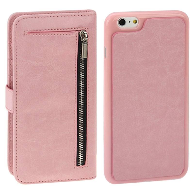 Plånboksfodral med avtagbart skal för iPhone 6 6S - Konstläder rosa ... 24e5963c9c8d0