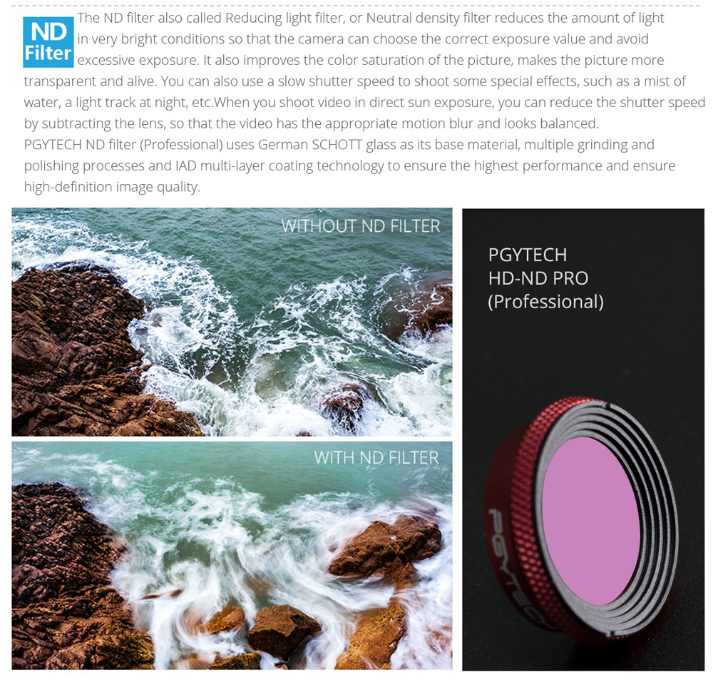 PGYTECH 6i1 Filter Pro för Mavic Air: UV, CPL, ND4, ND8, ND16, ND32